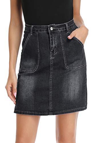 kefirlily Falda Vintage de Vaquero Corto Slim Fit Mujer Cintura Alta Falda Denim A-Line Casual Negro 48