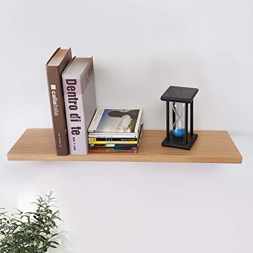 INMAN HOME rustikales schwimmendes Regal aus massivem Eichenholz für die Wand, Holzregal zur Wandmontage, hängendes Regal, Bücherregal, Bildleiste, Eiche, natur, 40,6 cm -