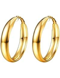 PROSTEEL Pendientes Mujer Acero Inoxidable de Aro para Mujer Diámetro 40mm/100mm Dorado/Negro/Plateado con Caja de Regalo
