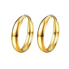 Idea Regalo - PROSTEEL Orecchini Cerchi Semplice in Acciaio Inossidabile Placcato in Oro con Superficie Liscia, Confezione Regalo, per Donna, 3 Colori Disponibili