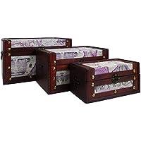 Comparador de precios 3varios tamaños de madera decorativa Almacenamiento Pecho Trunks en nuestra 'en todo el mundo' Diseño–Ideas de regalo para Navidad, cumpleaños, recuerdo, caja para juguetes - precios baratos