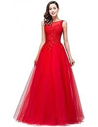 Babyonlinedress Vestido largo de fiesta de noche y de boda vestido de tul estilo elegante y A line cuello redondo sin mangas espalda V profundo