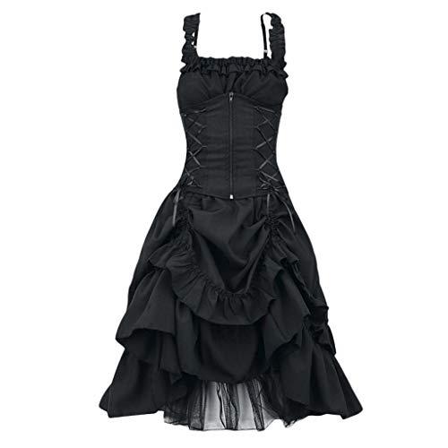 ❤Loveso❤ Damen Elegant Retro Vintage Petticoat Kleider Faltenrock Rockabilly Kleid Steampunk Gothic Kostüm Teufelchen Halloween Cosplay (Steampunk Kostüm Muster)