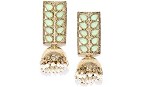 Priyaasi Gold Plated Mint Green Stone Studded Leaf Shaped With Drop Jhumki Earrings For Women And Girls
