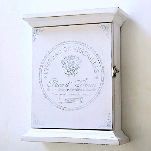 Home Collection Casa Arredamento Oggetto Decorativo da Parete Armadietto Portachiavi in Legno Bianco Shabby Chic Vintage H 31 cm