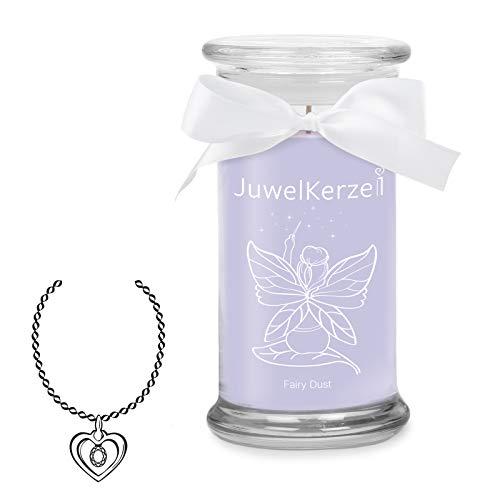 JuwelKerze Fairy Dust - Duftkerze im Glas mit Schmuck Überraschung aus Silber (Halskette)
