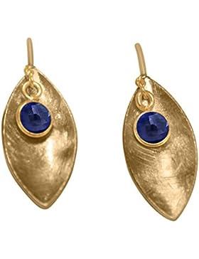 Gemshine - Damen - Ohrringe - Ohrhänger - 925 Silber - Vergoldet - Marquise - Minimalistisch - Design - Saphir...