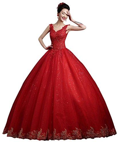 Size Rabatt Plus Kostüme (Beauty-Emily Partykleider Pastell Angel Sommerlich Damen ärmellos V-Ausschnitt Tüll Lace-up Pailletten Rückenfrei Bridal Farbe Rot Größe)