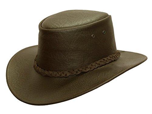 Kakadu Traders Lederhut Colonial in braun und schwarz mit geflochtenem Hutband | Herren Damen Größe XL | 2.Wahl