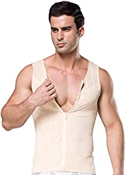 BaronHong Original Zip Up Men's Chest Compression Shirt to Hide Gynecomastia M