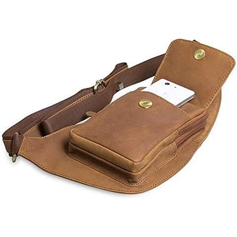 STILORD bolso bandolera riñonera Bolso de piel Vintage estilo retro Bolsos de viaje hombres marrón