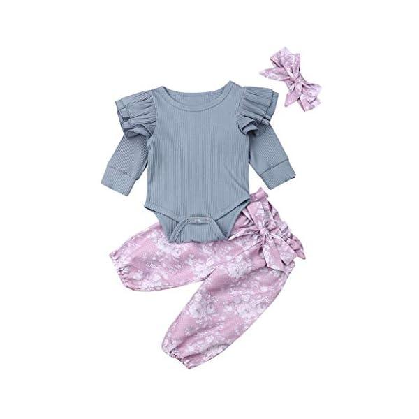 Traje de Dormir Mameluco Tops de Mameluco con Mangas con Volantes para bebés y niños pequeños + Pantalones Florales… 3