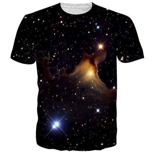 Schwarz Herren T Shirt Kurzarm O Neck Space Galaxy 3D bedrucktes T-Shirt Bekleidung Casual t Shirt Asia (Männliche Pop Art Kostüm)