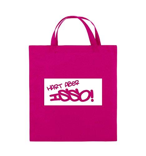 Borse Da Commedia - Difficile Ma Isso! - Borsa In Juta - Manico Corto - 38x42cm - Colore: Nero / Rosa Rosa / Bianco