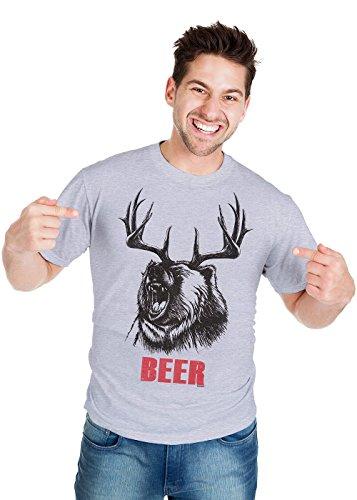 Retreez T-Shirt mit lustigem Bär- oder Hirschmotiv - Grau - Groß