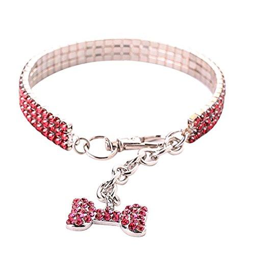 Hunde Astro Kostüm - Sinfu Pet Halskette, Cute Mini Pet Hund Bling Strass Léon Halsbänder Fancy Hund Halskette, L, Rose