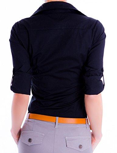 Danaest Damen Elegante Figurbetonte Übergröße Langarm, 3/4 Bluse Hemd 553 Schwarz