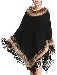 LIULIFE Cappotto da Donna con Collo A Scialle in Pelliccia di Volpe 06b134af1b9d