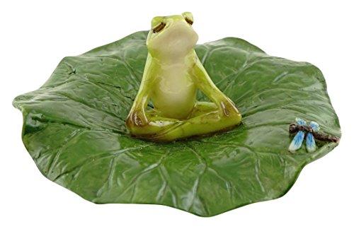 Top Collection Miniatur-Fairy Garden und Terrarium Frosch meditierend auf Lotus Blatt mit Figur Libelle