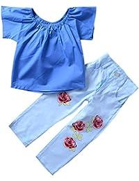 1-7T Camisa de un Hombro Tops + Flor Rosa Pantalones Conjunto, Verano Pantalones