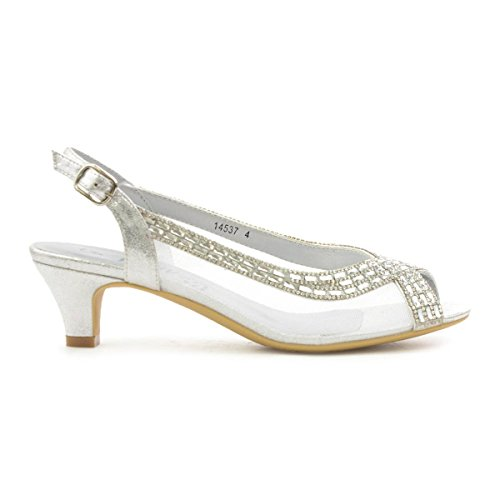 Lilley Womens Silver Open Toe Evening Shoe – Size 4 UK – Multicolour
