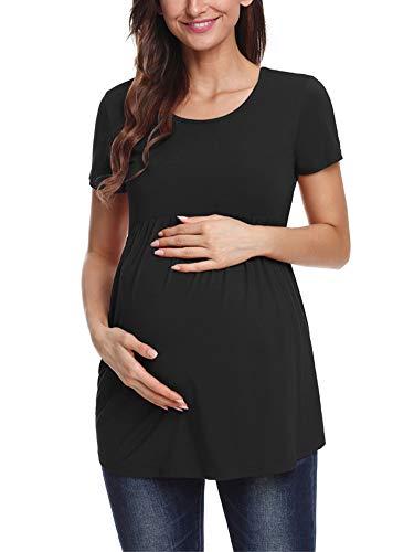 Love2Mi Maternity Top ist EIN kurzärmeliges Damenhemd mit seitlichen Falten am Rundhalsausschnitt, Black, L (Tops Size Tunika Maternity Plus)