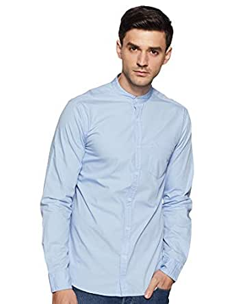 Amazon Brand - Symbol Men's Solid Regular Fit Full Sleeve Cotton Casual Shirt (AZ-SY-RM-13A-01_Sky Blue_Small)