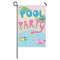 Muccum Cute Cartoon Pool Float Flamingo Long Polyester Garden Flag Banner 12 x 18 Inch, Summer Pool Party Decorative Flag for Wedding Anniversary Home Outdoor Garden Decor