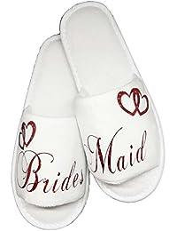 Zapatillas de hotel de dama de honor para despedida de soltera, diamantes de imitación, con texto en inglés