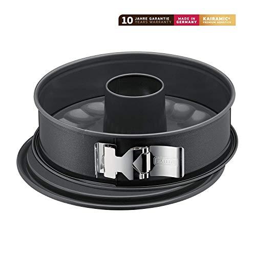 Kaiser La Forme Plus Springform, 28 cm rund, 2 Böden, Flach- und Rohrboden, runde Backform, SafeClick-Verschluss, Emailleboden, antihaftbeschichtet, schnittfest, auslaufsicher