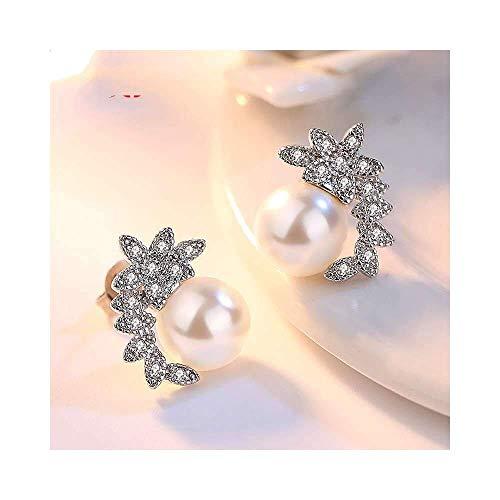 E-H Ohrringe Creolen Ohrstecker Blätter Krone Modellierung S90 Silber Punk Volkstanz Wettbewerb Schöne Ornamente für Lady1 Paar, Ohrring, a