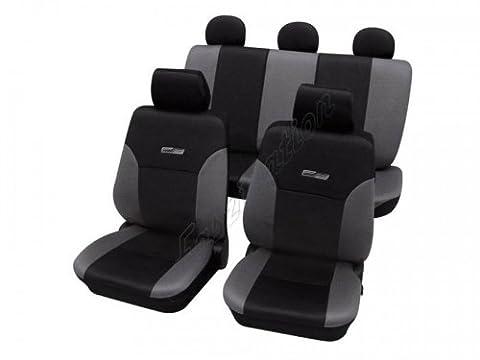 Housses pour sièges de voitures auto, Aspect cuir, Kit complet, Komplett-Set, Toyota Camry ohne Seitenairbag, gris noir anthracite