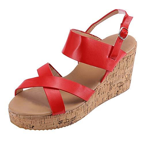 Damen Schuhe,TWBB Kreuz Outdoor Keilabsatz Boho Schnalle Casual Schuhe