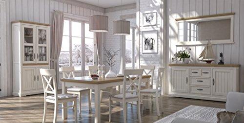 Esszimmer Komplett - Set - Solin, 10-teilig, Farbe: Eiche weiß/natur