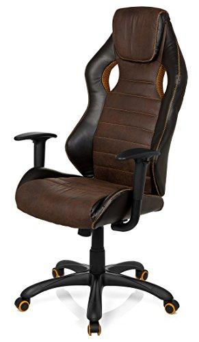 41CRm9OpOzL - hjh OFFICE 621880 RACER VINTAGE IV - Silla Gaming y oficina,  piel sintética marrón