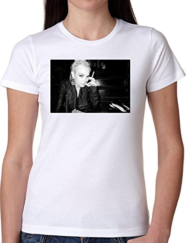 T SHIRT JODE GIRL GGG22 Z1206 PHOTO SMOKE FAMOUS VINTAGE AMERICA FASHION COOL BIANCA - WHITE