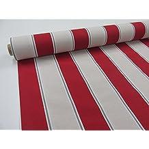 Metraje 2,45 mts tejido loneta estampada Ref. Rayas 80 Rojo, con ancho 2,80 mts.