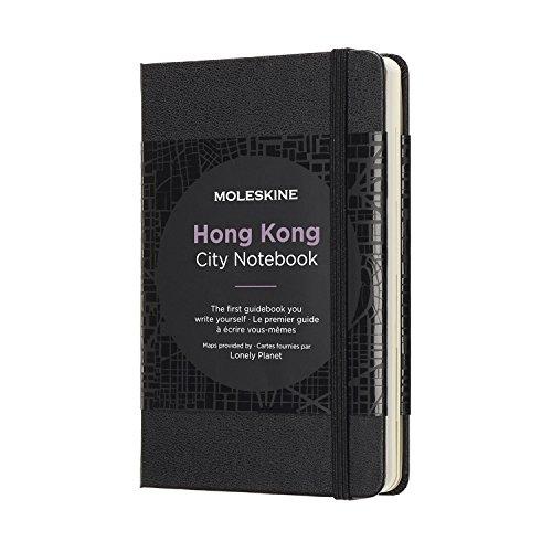 Moleskine City Notebook Hong Kong (mit weißen und linierten Seiten, Notizbuch mit Hardcover, elastischem Verschluss und Stadtplänen, Größe 9 x 14 cm, 220 Seiten) schwarz