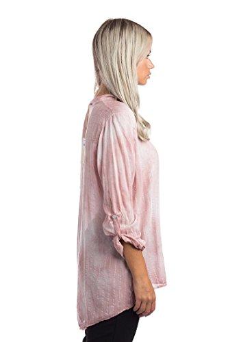 Abbino 68012 Damen Shirt Bluse Top - Made in Italy - Viele Farben - Langarm Hüftlang Y-Ausschnitt Viskose Flamingos Sommer Herbst Damenshirt Damenbluse Damentop Lässig Regular Fit Sexy Freizeit Rosa (Art. 68012B3)