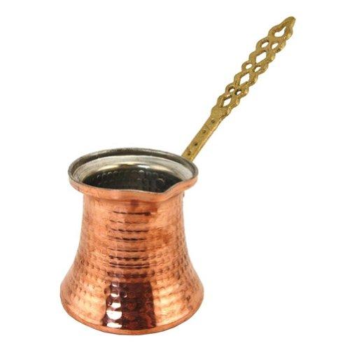 The Turkish Emporium Türkisch Kupfer Kaffeekanne mit Metall Griff–Große Größe 3Tassen