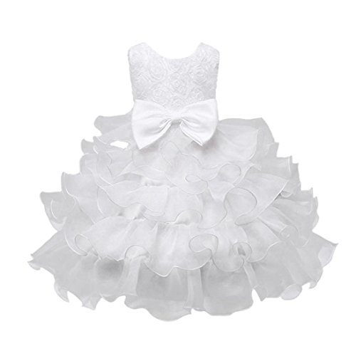 ❤️Kobay Kinder Baby Mädchen Blumen Geburtstag Hochzeit Brautjungfer-Festzug Prinzessin Abendkleid (150/9-10Jahr, Weiß)