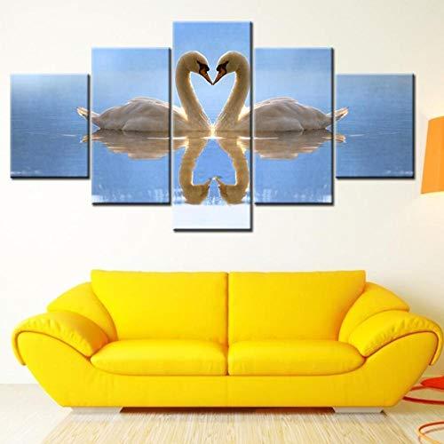 Xzfddn Leinwand Malerei Zwei Schwanensee Blau Wasser Reflexion 5 Stücke Wandkunst Malerei Modulare Tapeten Poster Drucken Wohnkultur-30X40/60/80Cm,With Frame (Halloween Reflexiones Del)