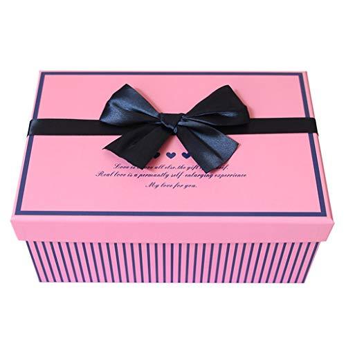 Rosa Streifen Geschenk Box Rechteckige Bogen Dekoration Geburtstag -