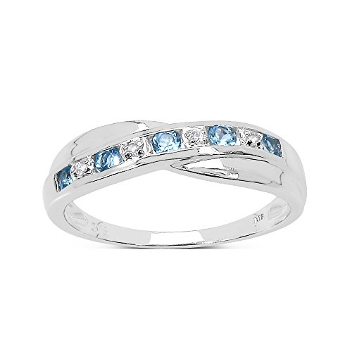 La Collection Bague Diamant : 9ct Or Blanc Topaze Bleu et de diamants Bague Eternité, parfait pour cadeau, Bague de Fiançailles ou Anniversaire, taille de la bague 52