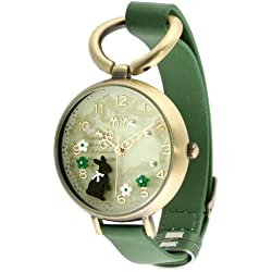 Oh My Lady* Vintage Innovative 3D Miniature, White & Green Flowers, White Lace & Pearls, A Dark Rabbit in the Forest Themed High Qaulity Waterproof Watch with GENUINE LEATHER Strap & Delicate Handcraft Clay Art - Gift Boxed
