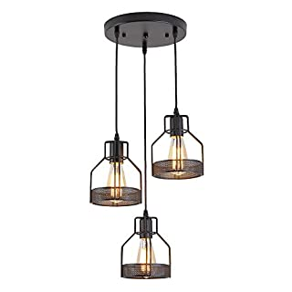 ZZ Joakoah® Vintage Industrial Metal 3-Light Pendant Light Ceiling Light Hanging Light Fixture for Kitchen Island Dining Table Bedroom Hallway, 3×E27, Black