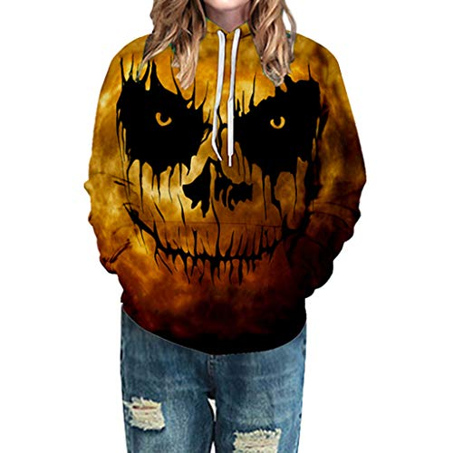 LILIGOD Langarm Kapuzen Pullover Frauen Halloween Kapuzenpullover Horror 3D Print Sweatshirt Party Langarmshirts Lässig Bequem Hoodie Jacken Reißverschluss Kapuzen-Sweatshirt -