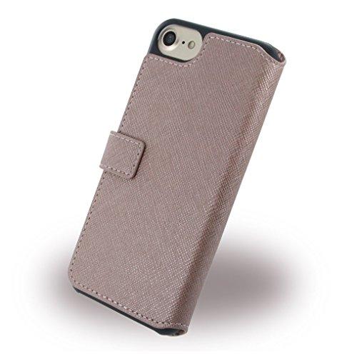 Guess GUFLBKP7TBK Saffiano Look PU Booktype Schutzhülle für Apple iPhone 7 schwarz rosa