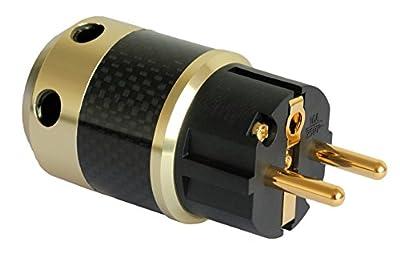 Connettore di alimentazione Schuko - Connettori placcati oro 24k - Guscio rivestito in Fibra di Carbonio