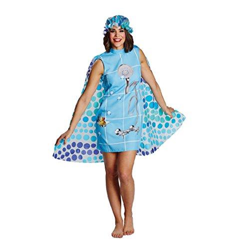 Karneval Kostüm Dusche, Kleid mit Umhang und Duschhaube (40) - Duschvorhang Kleid